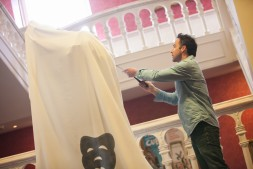 Jonjo unveiling the Mercutio Statue at Newcastle Theatre Royal - 2